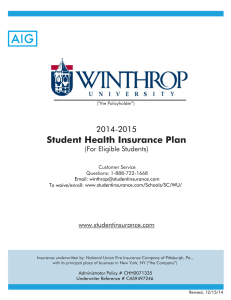Student Health Insurance Plan  2014-2015 (For Eligible Students)