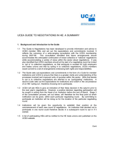 UCEA GUIDE TO NEGOTIATIONS IN HE: A SUMMARY