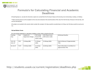 Formula's for Calculating Financial and Academic Deadlines