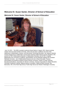 Welcome Dr. Susan Ganter, Director of School of Education