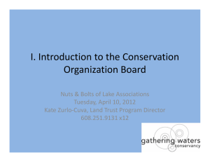 I. Introduction to the Conservation  Organization Board