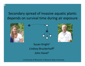 Secondary spread of invasive aquatic plants  depends on survival time during air exposure Susan Knight Lindsey Bruckerhoff