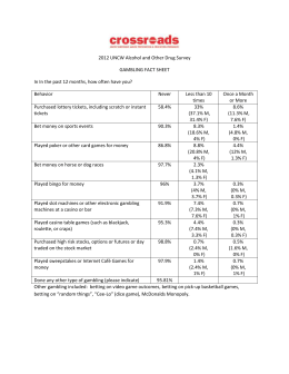 2012 UNCW Alcohol and Other Drug Survey GAMBLING FACT SHEET