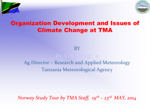 Organization Development and Issues of Climate Change at TMA BY