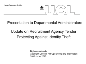 Presentation to Departmental Administrators Update on Recruitment Agency Tender