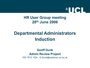 Departmental Administrators Induction HR User Group meeting 28