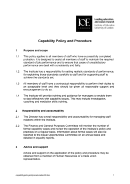 Capability Policy and Procedure