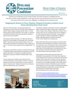 Welcome to the Southeastern North Carolina Dropout Prevention Newsletter. We... prevention activities and accomplishments in the region as well as...