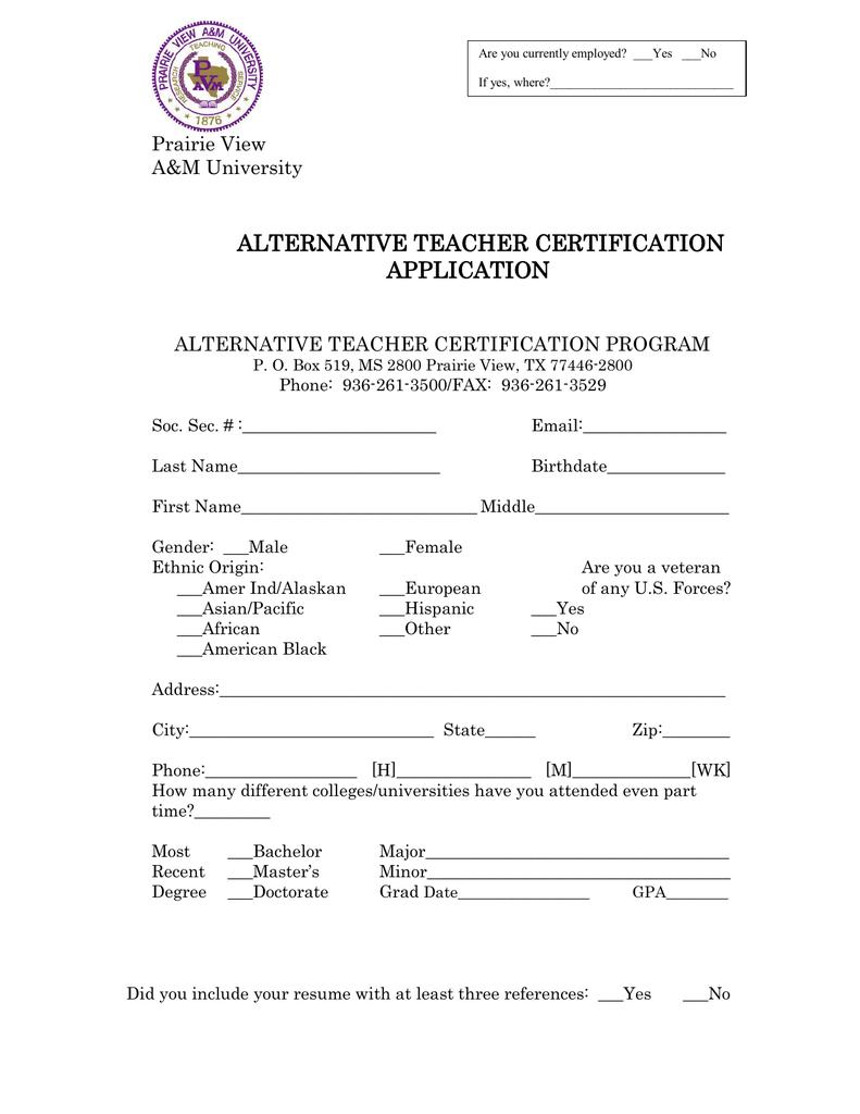 Alternative Teacher Certification Application Prairie View Am