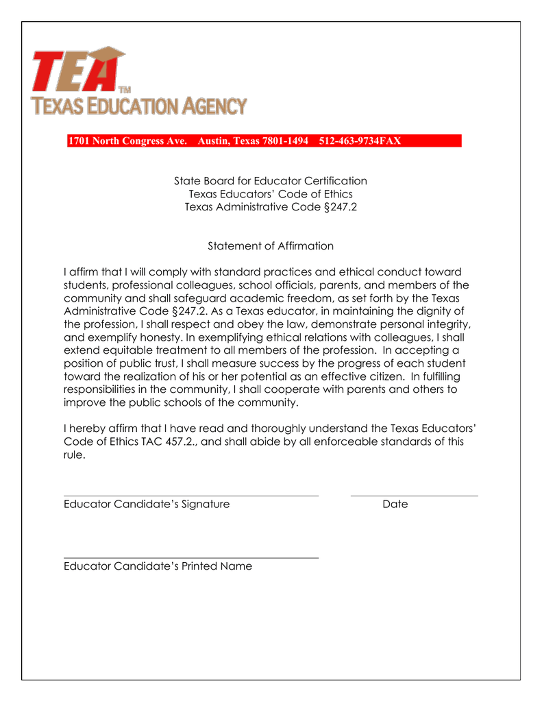 State Board for Educator Certification Texas Educators' Code of Ethics