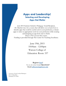 : Apps and Leadership Selecting and Developing Apps that Matter