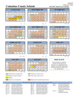 Columbus County Schools Adopted February 8, 2016 2016-2017 School Year Calendar