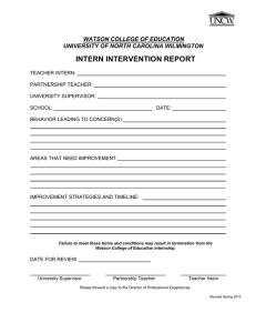 INTERN INTERVENTION REPORT WATSON COLLEGE OF EDUCATION UNIVERSITY OF NORTH CAROLINA WILMINGTON