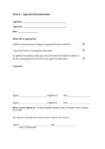 Form F - Appraisal Documentation