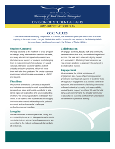 DIVISION OF STUDENT AFFAIRS CORE VALUES 2012-2017 STRATEGIC PLAN