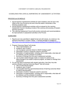 GUIDELINES FOR ANNUAL REPORTING OF ASSESSMENT ACTIVITIES
