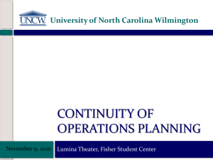 CONTINUITY OF OPERATIONS PLANNING University of North Carolina Wilmington