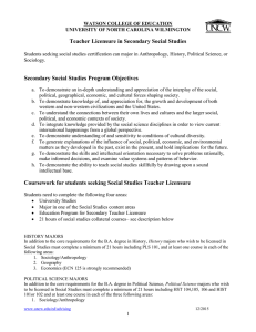 Teacher Licensure in Secondary Social Studies