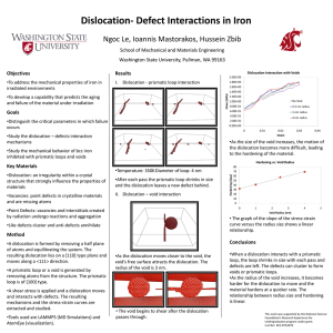 Dislocation- Defect Interactions in Iron Ngoc Le, Ioannis Mastorakos, Hussein Zbib Results Objectives