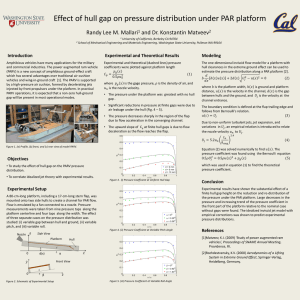 Effect of hull gap on pressure distribution under PAR platform