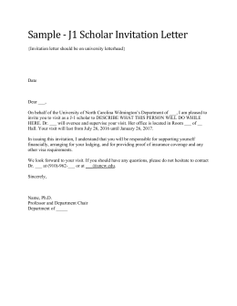 Sample	‐	J1	Scholar	Invitation	Letter