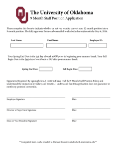 The University of Oklahoma 9 Month Staff Position Application