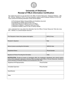 University of Oklahoma Receipt of FMLA Information Certification