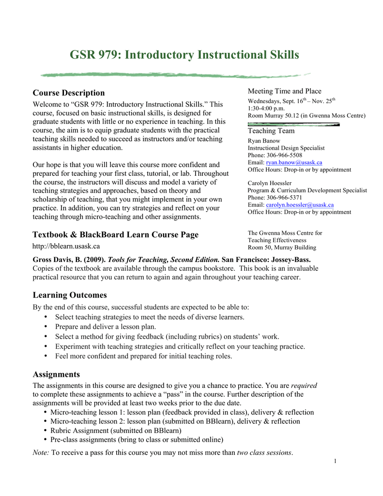 Gsr 979 Introductory Instructional Skills Course Description