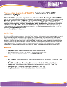 "Pharmaceutical Engineering EXCLUSIVE - Redefining the ""C"" in CGMP Conference Highlights"