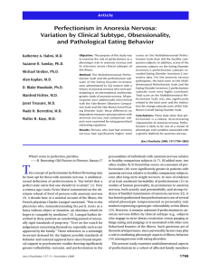 Perfectionism in Anorexia Nervosa: Variation by Clinical Subtype, Obsessionality,