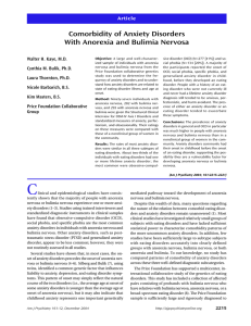 Comorbidity of Anxiety Disorders With Anorexia and Bulimia Nervosa Article