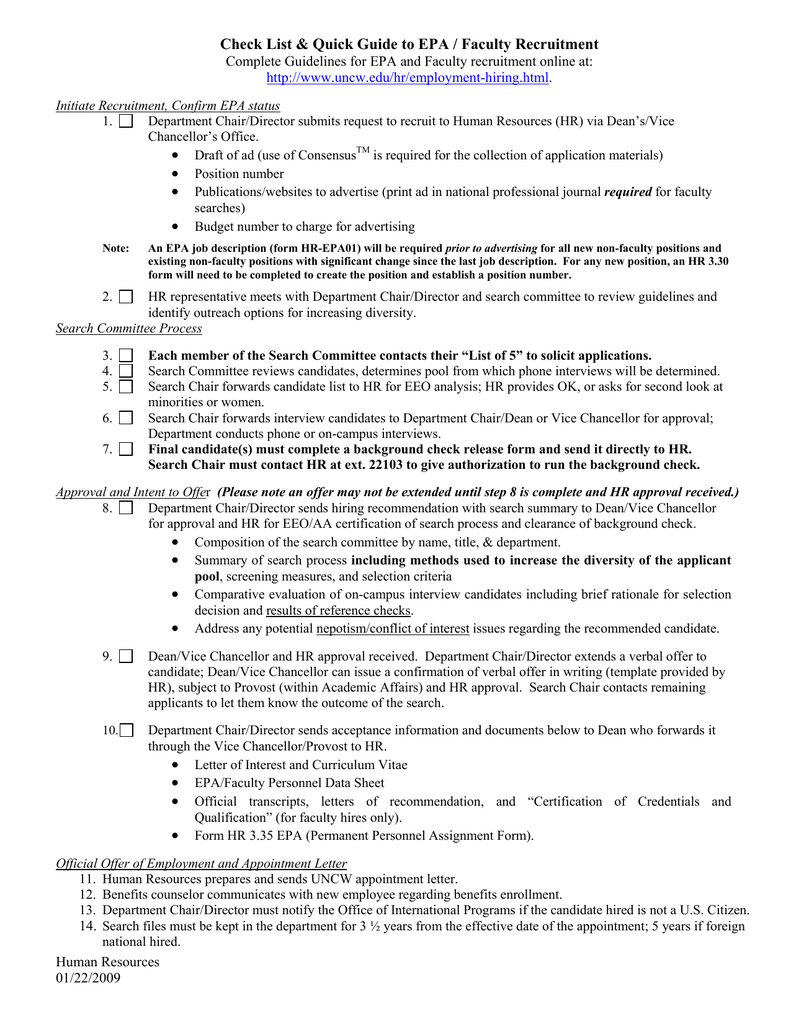 check list quick guide to epa faculty recruitment