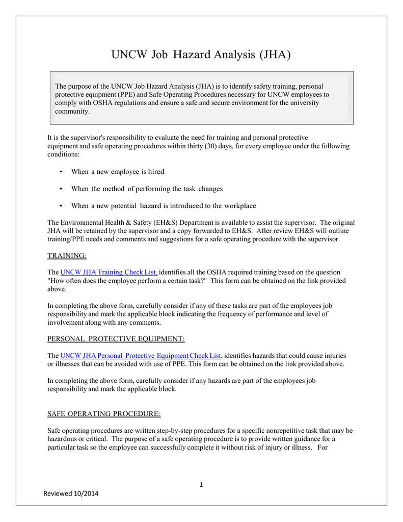 UNCW Job Hazard Analysis (JHA)