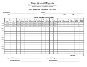 Prairie View A&M University Field Instruction Assignment Time Sheet Agency Name