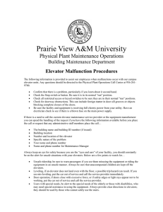 Prairie View A&M University  Physical Plant Maintenance Operations Elevator Malfunction Procedures