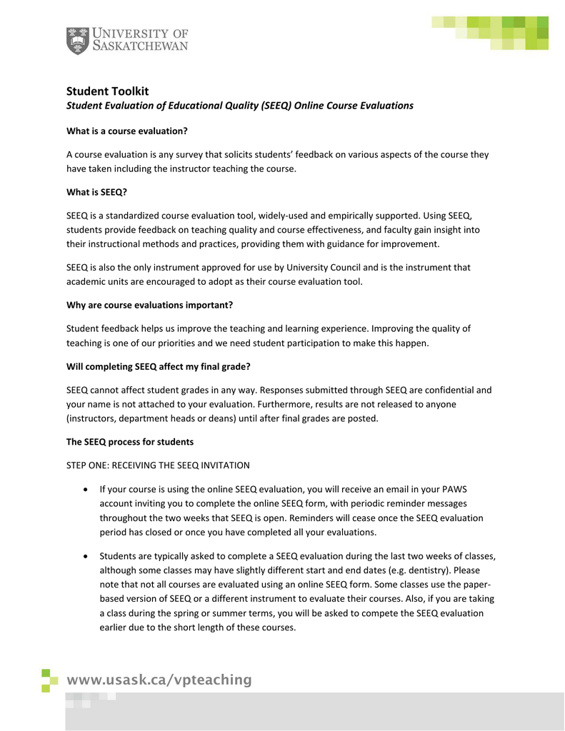 student toolkit student evaluation of educational quality seeq online course evaluations
