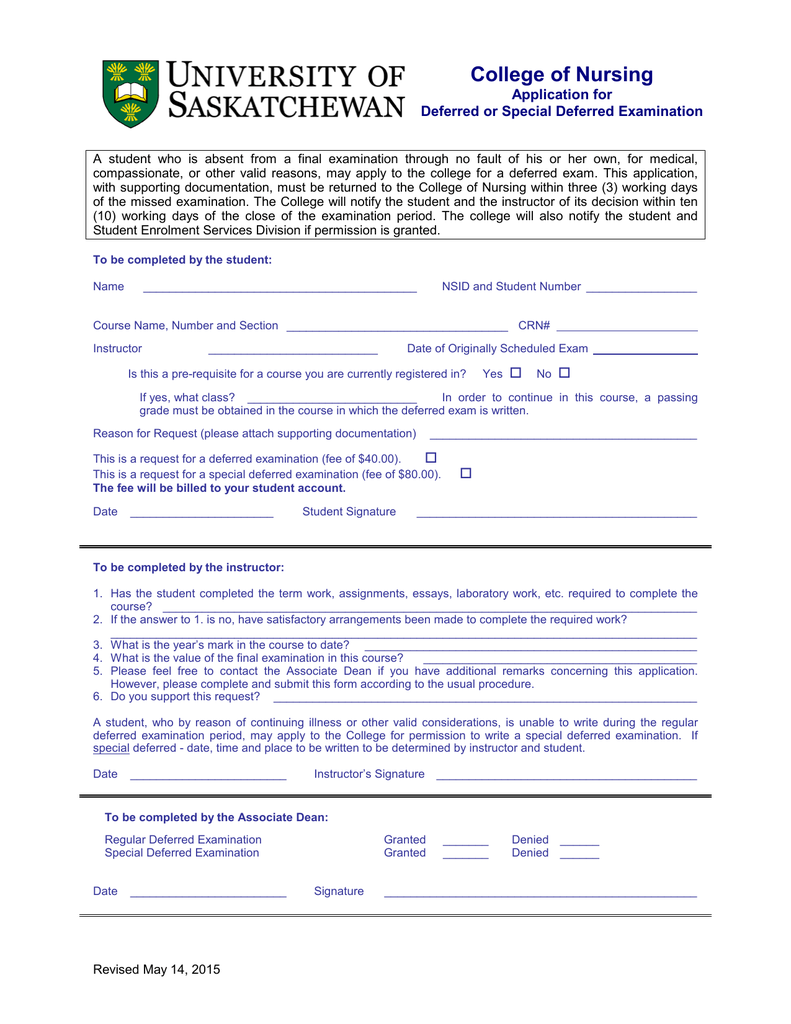 College of Nursing Application for Deferred or Special Deferred