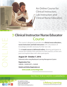 Course Clinical Instructor Nurse Educator An Online Course for Clinical Instructors,