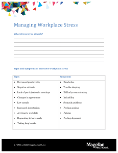 Managing Workplace Stress What stresses you at work?