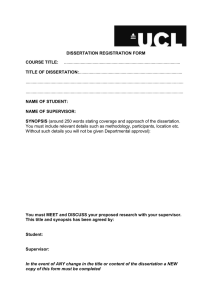 DISSERTATION REGISTRATION FORM COURSE TITLE: TITLE OF DISSERTATION: