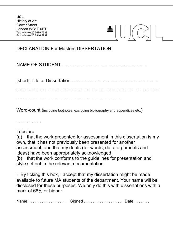 Dissertation declaration dissertation abstract sample