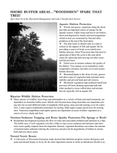 "SHORE BUFFER AREAS…""WOODSMEN"" SPARE THAT TREE! Aquatic Habitat Protection"