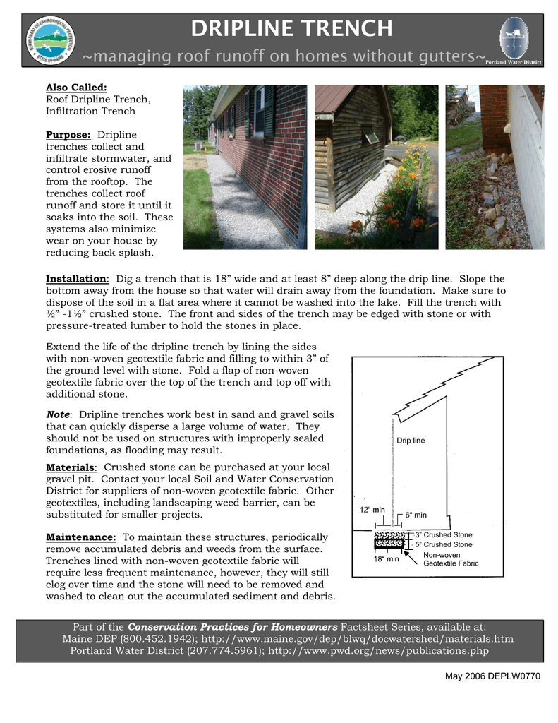 Dripline Trench Managing Roof Runoff On Homes Without