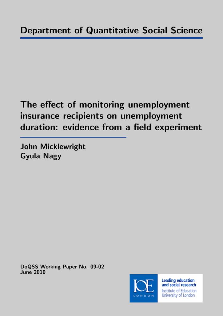 department of quantitative social science the effect of monitoring department of quantitative social science the effect of monitoring unemployment
