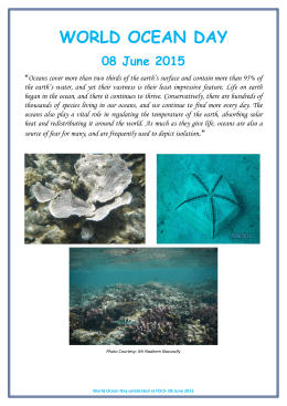 WORLD OCEAN DAY 08 June 2015