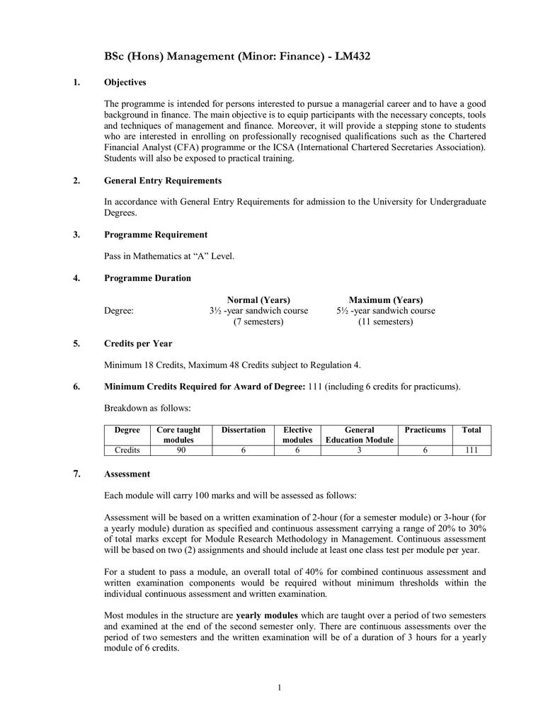 BSc (Hons) Management (Minor: Finance) - LM432