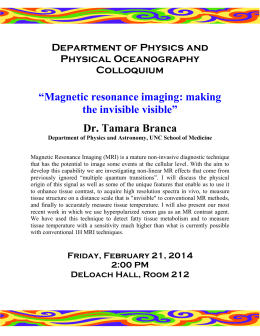 """Magnetic resonance imaging: making the invisible visible"" Dr. Tamara Branca"