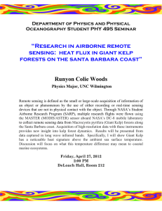 """  Research in airborne remote sensing:  heat flux in giant kelp"
