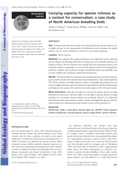 Carrying capacity for species richness as of North American breeding birds