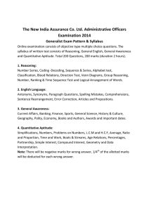 The New India Assurance Co. Ltd. Administrative Officers Examination 2014